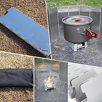 Kaimeilai Pare-Vent Pliable en Alliage d'aluminium, Assiettes Pare-Vent de Camping Portable réchaud de Camping, Brise-Vent Pliable en Aluminium, Pare-Vent de Camping Pliable pour Le BBQ