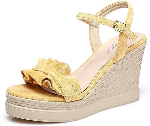 SANDALEN Sommer Frauen Keil Mode Elegante Wasserdichte Plattform High Heels Einfarbig Offene Spitze Student (Farbe   Gelb, Größe   38)