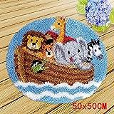 Kreuzstisch zum Selber Knüpfen Teppich Latch Hook Kit für Kinder und Erwachsene zum Selber Knüpfen Teppich Child Rug Animal,Zoo,50x50cm/20x20inch