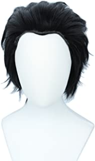 Linfairy Short Straight Cosplay Wig Halloween Costume Wig (black)