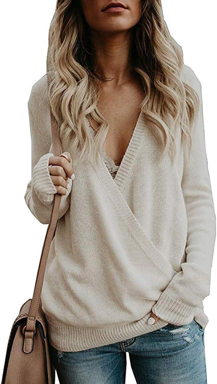 Product Rainlin Women Long Sleeve Deep V Front Neck Sweater Wrap Lo Knit National uniform free shipping