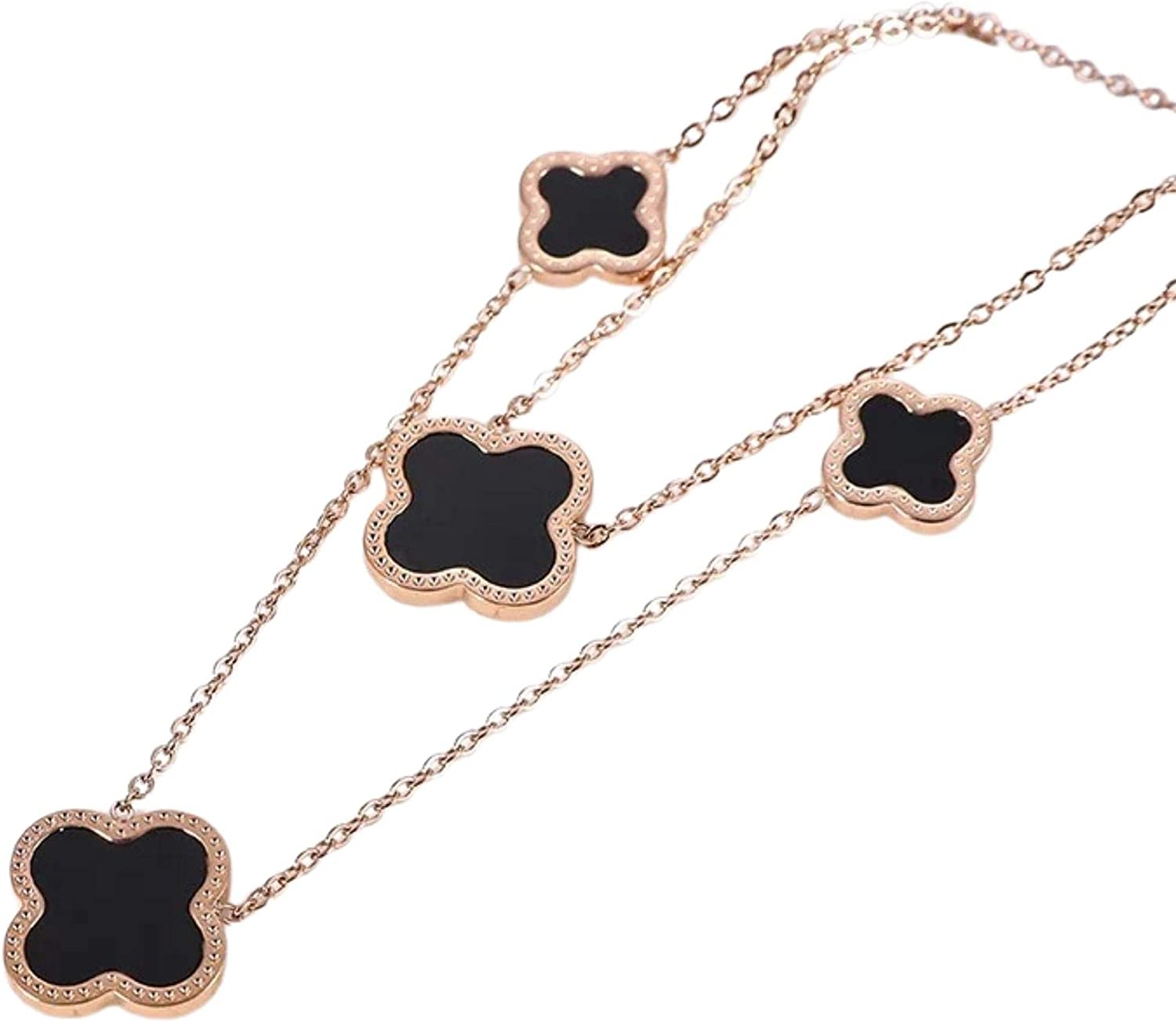 """Dainty 18"""" Double Chain Adjustable Designer Inspired 18K Rose Gold Plated Clover Charm Necklace"""