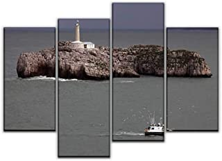 4 Panel Canvas Pictures mouro island lighthouse fishing boat and seagullss and pictures Home Decor Gifts Canvas Wall Art f...