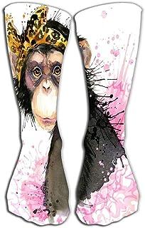 PeiZhengYuanLin-Shop, Calcetines Calcetín mono mono chimpancé salpicadura acuarela textura niña Calcetines Altos 50CM