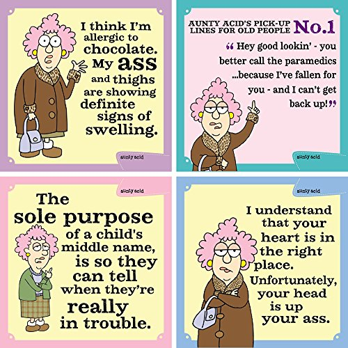 Tree-Free Greetings Hilarious Aunty Acid 4 Piece Set, Allergic to Chocolate Magnets