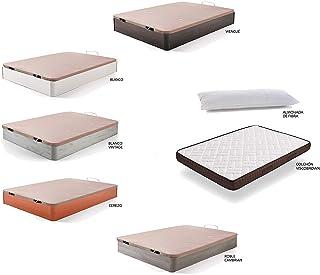 comprar comparacion HOGAR24 ES Cama Completa - Colchón Viscobrown Reversible + Canape Abatible de Madera Color Blanco Vintage + Almohada de Fi...