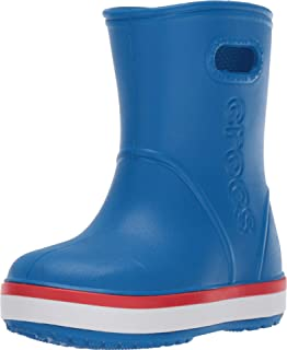 Crocs Kids' Crocband Rain Boot | Easy Slip On for Toddlers | Lightweight and Waterproof, Bright Cobalt/Flame