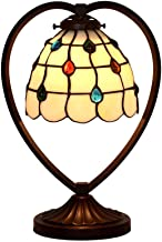 "Tiffany Style Baroque Table Lamp 7"" Vintage Desk Light with Stained Glass Lampshade and Zinc Alloy Base for Living Room Be..."