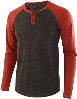 Mens Henley Long Sleeved T-Shirts Button up Baseball Look Shirt with Grandad Neck Classic All-Match Tee Henley Shirt Breat...