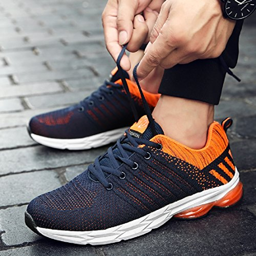 ZapatillasRunningpara Hombre Aire Libre y Deporte Transpirables Casual Zapatos Gimnasio Correr Sneakers Naranja 40