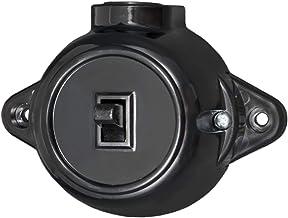 Aufputz Doppelschalter Bakelit Optik Schwarz RETRO Alt  Serienschalter EU Herges