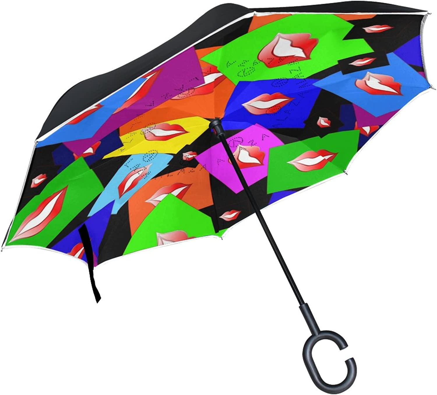 ALAZA Lips colorful Print Ingreened Umbrella Double Layer Windproof Reverse Folding Umbrella for Car With C-Shape Handle