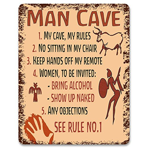 Print Crafted - Man Cave Rules - Metal Sign | Funny Bedroom, Gaming Room Door Decor