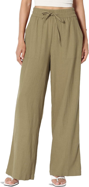 TheMogan S~XL Elastic Drawstring Waist High Rise Linen Blend Wide Leg Long Pants