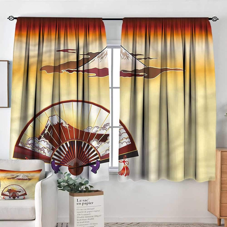 Sanring Landscape,Backout Curtain Mount Fuji Japanese Art 42 X63  Patterned Drape for Kids Bedroom