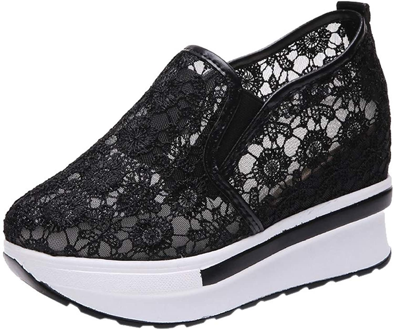 Women Summer Bud Mesh Face Single Wedge Heel shoes Breathable Inner Increase Casual Flat Casual shoes