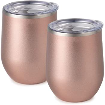 Maars Bev Stainless Steel Stemless Wine Glass Tumbler with Lid, Vacuum Insulated 12 oz Cup | Spill Proof, Travel Friendly, Classic Cocktail Drinkware - 2 Pack Rose Gold