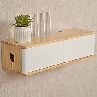 Estante de almacenamiento de enrutador flotante, gabinete de TV montado en la pared, material de madera maciza, buena capa...