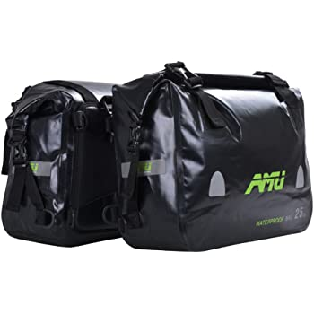 A.B Crew 2pc Waterproof Motorcycle Saddlebags 50L Panniers Heavy-duty PVC Travel Luggage Bags