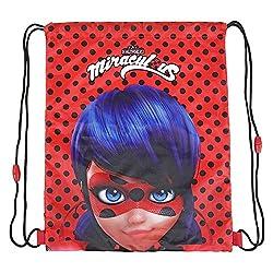 PERLETTI Sacca Porta Scarpe Bambina Miraculous Ladybug - Borsa Scarpe Impermeabile a Pois - Sacchetto portatutto Lady Bug per Sport e per Viaggio - Rosso e Nero - 39x31 cm