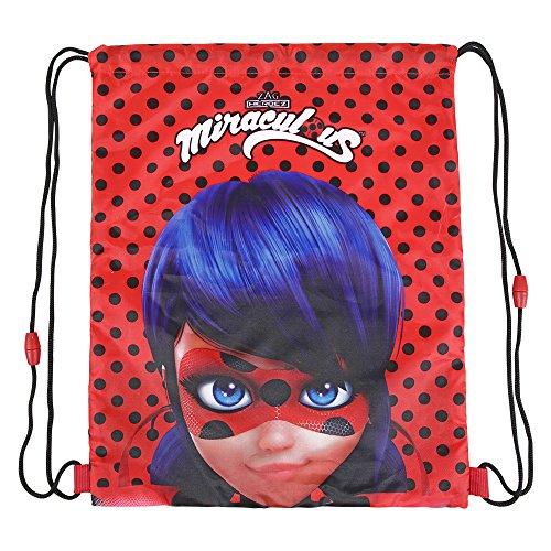 PERLETTI Miraculous Lady Bug Schuhtaschen für Mädchen - Schuhbeutel Undurchlässig mit Ladybug - Sportsack ideal für Reisen - Rot und Schwarz - 39x31 cm