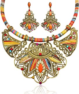 LZHLQ Fashion Handmade Ethnic Set Bib Necklace Earrings...