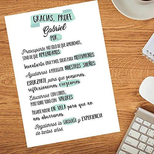 Calledelregalo Regalo Personalizable para Profesores y profesoras: lámina Gracias, profe Personalizada con su Nombre (Texto Verde)