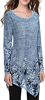 FSSE Women's Long Sleeve Asymmetric Hem Print O-Neck T-Shirt Blouse Tops