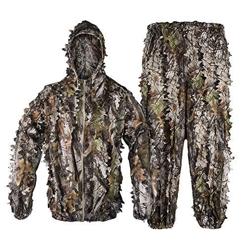 Tongcamo Jagd Ghillie Tarnanzug 3D Bionic Design Anzug Tarnkleidung Jacke und Hose Camouflage Kleidung für Jagd Wildtierfotografie Angeln Vogelbeobachtung