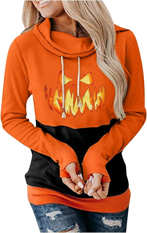 Hotkey Halloween Hoodies for Women, Cowl Neck Long Sleeve Sweatshirts for Women Vampire Print Loose Drawstring Pullover Tops