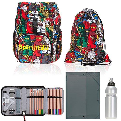 5 Teile Set Lego Outbag Basic Schulranzen Schulrucksack Mäppchen gefüllt + H Heftbox + Flasche (Ninjago Comic)