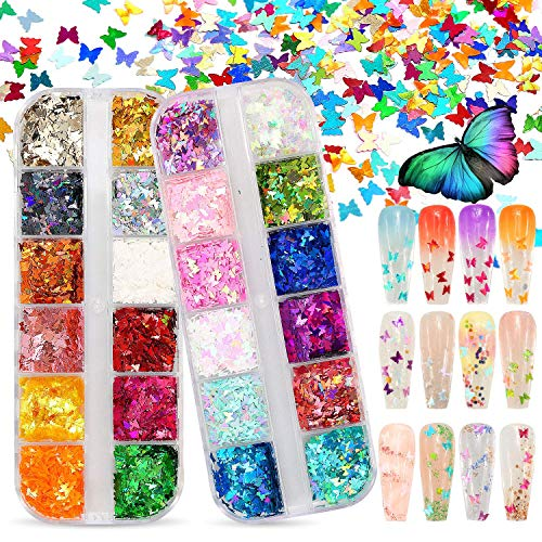 ANDERK Paillettes Ongle 24 Couleurs Chunky...