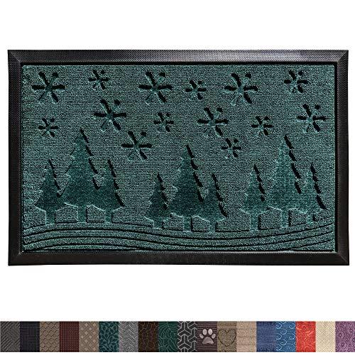 Gorilla Grip Original Durable Rubber Door Mat, 35x23, Large Heavy Duty Doormat, Indoor Outdoor, Waterproof, Easy Clean, Low-Profile Winter Mats for Winter Snow, High Traffic Areas, Green Snowscape