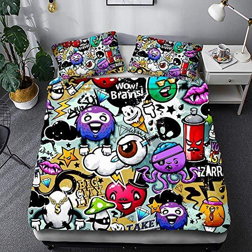 Juego de sábanas con Funda nórdica de Microfibra de Alta Gama con Dos Fundas de Almohada Color Graffiti Moda Hip Hop (Style 08, (150x200cm)-Cama de 90)