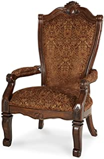 Michael Amini Windsor Court Fabric Back Arm Chair, Vintage Fruitwood