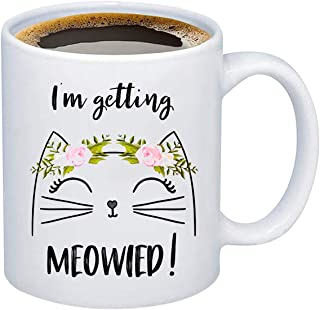 FOTAP I'm Getting Meowied Mug Engagement Gift Cat Lover Mug Bride To Be Gift Wedding Gift(getting Meowied Mug)