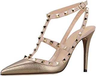 Women Sexy Ankle Straps Sandals High Heel Pointed Toe Studded Stiletto Shoes Size 5.5-12 US