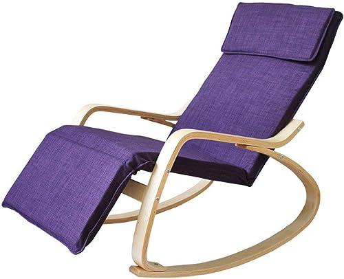 Hhor Rocking Chair Adult Balcon Canapé de Loisirs Chaise Nostalgique Fauteuil Northern Europe Fauteuil à Bascule en Bois Massif (Couleur  Violet imperméable) (Couleuré   -, Taille   -)