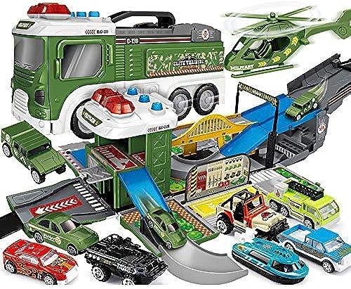 WDXIN Toy Garage Parkhaus Feuerwehrauto Kinderspielzeug Parkplatz anheben Bagger Technik Legierungssatz 2-3-6 Jahre 4 Jungen.
