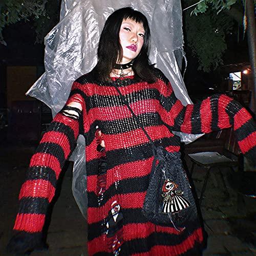 WRYIPSF Gothic Punk Frauen T-Shirt Loch Gestreifte Bluse Top Grunge Pastell Gothic Fairy Harajuku Dark Aesthetic Hemd Plus Größe Emo Kleidung-Rot_Einheitsgröße