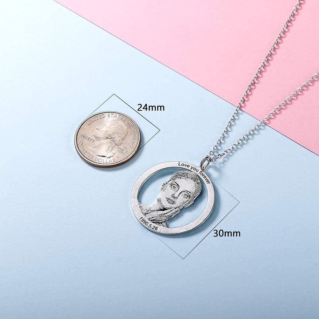 Women Men Personalized 925 Sterling Silver Photo Custom Necklace Free Text Engrave Round//Dog Tag Shape Pet Memorial//Your Photo Picture Customize Personalized Necklaces