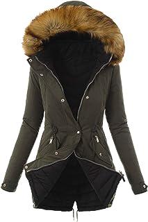 Winterjas voor dames, warme winterjas met bont, gemiddelde lengte, donsjas voor vrouwen, dikke winterjas met capuchon van ...