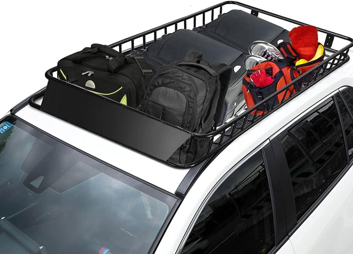 COSTWAY Universal Dachkorb aus Stahl, Auto Dachgepäckträger bis 113kg belastbar, Dachträger Dach Gepäckträger schwarz Gepäckkorb 162x99x15cm