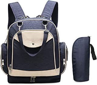 Leather Diaper Wallet Backpack with Stroller Straps Baby Diaper Backpack for Women, Men, with Bottle Pack Waterproof (Color : Blue)