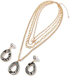 4 Layered Necklace Shell Pendant Dangle Necklace and Snakeskin Grain PU Waterdrop Earring Jewelry Set