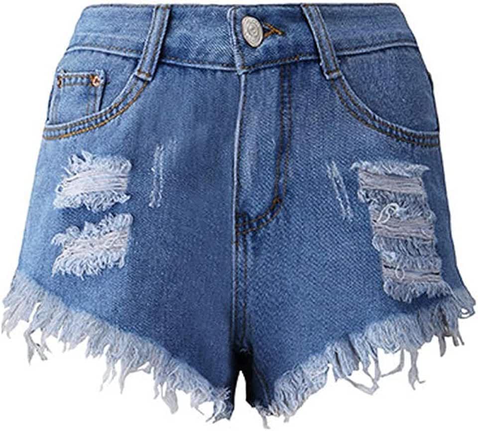 Women Fashion Casual Denim Destroyed Fashion Destroyed Shorts Jeans Skinny High Waist Denim Shorts Size M (Blue)