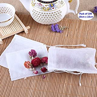 AKOAK 100 Pack Disposable Drawstring Tea infusers Tea Filter Bags for Loose Tea Herbs Spice Bouquet Garni Potpourri Bags(3.93