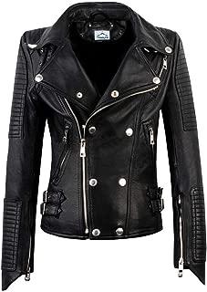 VearFit Racer Biker Motorcycle Women Lambskin Real Leather Jacket