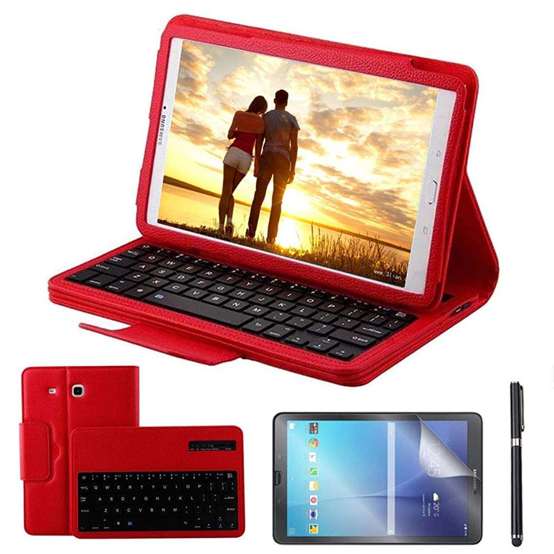 Galaxy Tab E 9.6 Keyboard Case with Screen Protector & Stylus, REAL-EAGLE Separable Fit PU Leather Case Cover Magnetically Wireless Keyboard for Tab E 9.6 Inch SM-T560,T561,T567,Red
