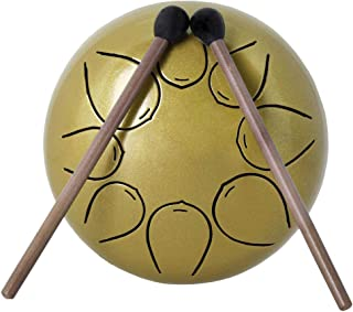 Almencla Mini Tongue Drum Steel Tank Drum Handpan Drum 8 Notes with Storage Bag and Mallets, 5Inch - Golden